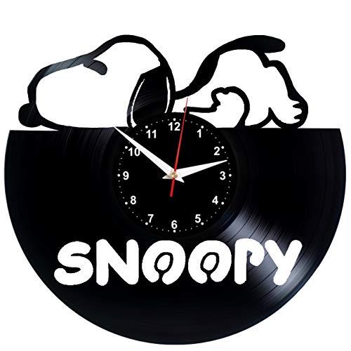 EVEVO Snoopy Wanduhr Vinyl Schallplatte Retro-Uhr Handgefertigt Vintage-Geschenk Style Raum Home Dekorationen Tolles Geschenk Wanduhr Snoopy