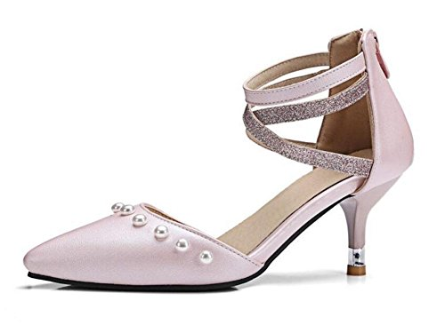 High Pumps Schuhe Perle Women's Spitz Pink Ankle Toe Schwarz GLTER Shose Heels Strap Court Closed twCXqwn1