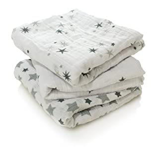 aden + anais musy squares, 100% cotton muslin, 70cm X 70cm, 3 pack, twinkle