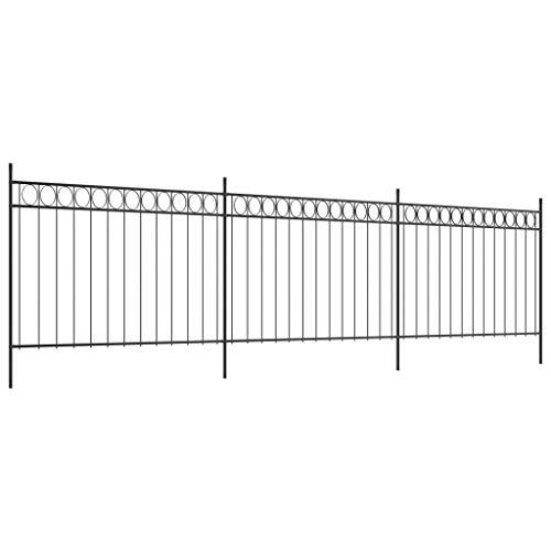 Festnight- Zaunfelder mit Pfosten Gartenzaunfeld Metallzaun Gartenzaun Zaun Zaun-Set Stahl 6 x 1,5 m Schwarz