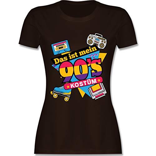 Karneval & Fasching - Das ist Mein 90er Jahre Kostüm - XXL - Braun - L191 - Damen Tshirt und Frauen T-Shirt