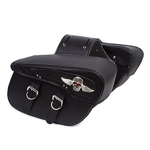 2PC Motorrad schwarz Synthetik Leder 2-Gurt Satteltasche Werkzeugtasche