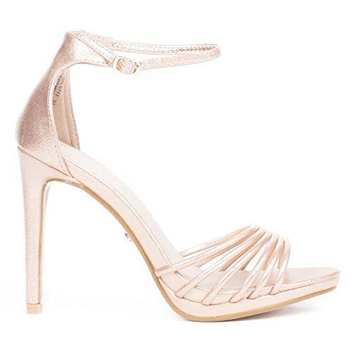 Ideal Shoes Sandales Nacrées à Talon Melly Champagne