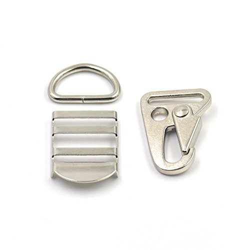 210Haken 2,5cm 25mm Sling HK Dee D Ring Lock Triglides Folien Sling Gewehr Gurtband Gurt Nickle (Gewehr-lock)