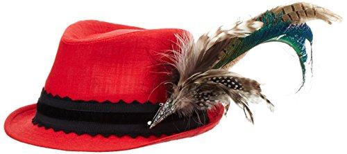 Alpenflüstern Damen Leinen-Trachtenhut mit Pfauenfeder, Rot (Rot 20), 55/57 cm (Herstellergröße: Medium)