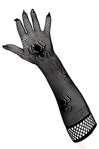 PartyXplosion® Damen Schwarze Netzhandschuhe mit Spinnen Spinnennetz Look Spinnenmuster Optik Handschuhe Armstulpen Ellenbogen (Kostüme Handschuhe Spinnennetz)