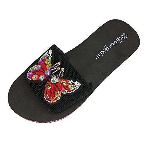Xmiral Slippers Women Ladies Summer Bohemian Style Butterfly Sequin Beach Sandals