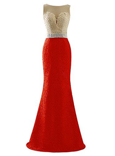 Dresstells, Robe de cérémonie Robe de soirée Robe de gala emperlée en dentelle longueur ras du sol Rouge