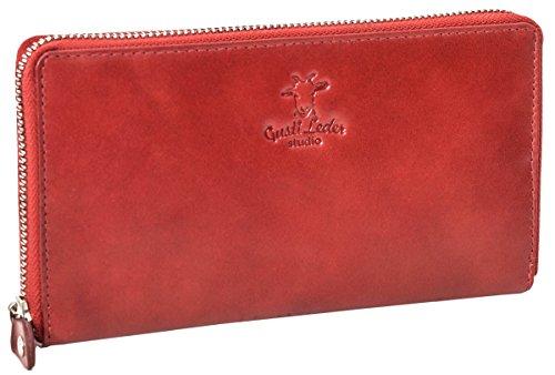 Geldbörse Leder Gusti studio Iris Portemonnaie Portmonee Echtleder Damen Rot (Indien Geldbörse)