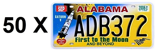 SATZ von 50 US REPLICA LICENSE PLATES in METAL: ALABAMA FIRST TO THE MOON - USA DREAM