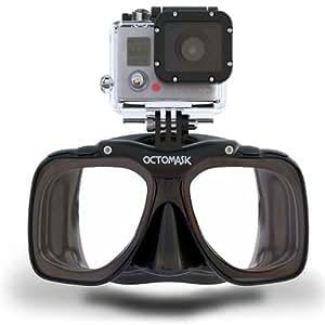 Octomask Unisexe classique GoPro Masque pour plongée et plongée avec tuba, Noir, taille unique