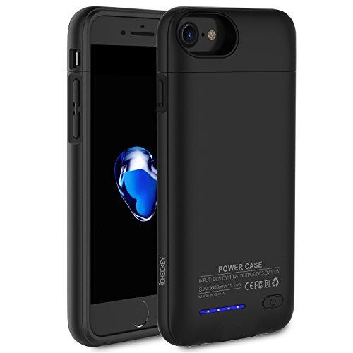 ICHECKEY 3000mAh Akku Hülle für iPhone 6/6s/7 4.7 Zoll Smart Power Case Automatisch Magnetisch Absorption Akkucase Lithium-Polymer Dünne Batterie Hülle Battery Case (Schwarz)