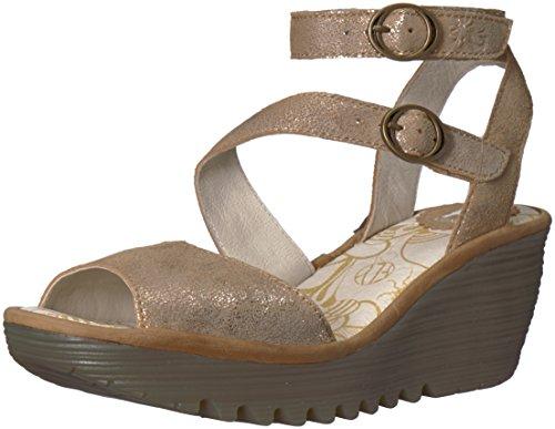 Leder Wrap-around-sandalen (Fly London Damen Yisk837fly Knöchelriemchen Sandalen, Gold (Luna/Camel), 39 EU)