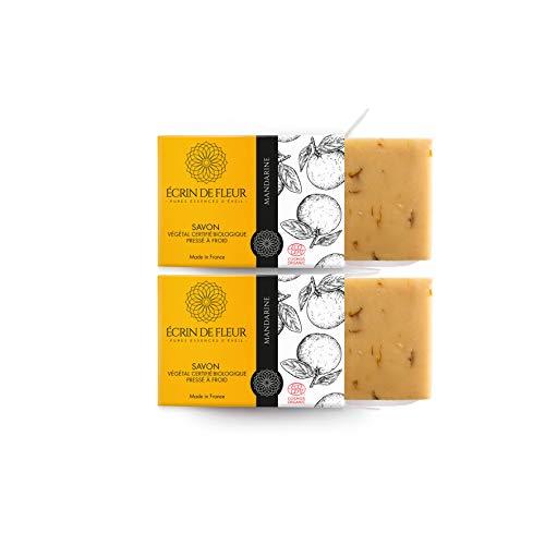 ÉCRIN DE FLEUR -Zertifizierte Bio von Ecocert - Mandarinenseife - Angereichert mit Calendula und Mandarinen ätherischen Ölen - das ungiftige, SLS & Chemikalienfreie Seifenstück - Geschenkbox 2 x 100g -