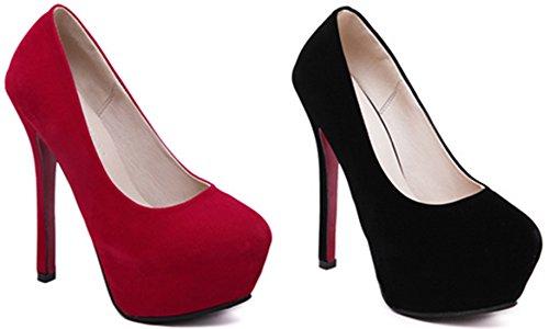 DADAWEN Femmes Élégant Talon Haut Chaussures Sexy Bout Soir Fête Chaussures Rouge