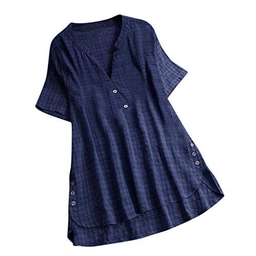 QingJiu Damen T-Shirt Mode Frauen Kurzarm Kaftan Baggy Button Baumwolle Leinen LäSsige Tunika Bluse (2XL(EU 44), X-Marine)