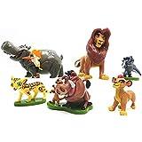 CYSJ León Cake Topper 6 Pcs El Rey León Decoración de Tartas Figuras Decoración para Tarta de cumpleaños de Animales de Dibuj