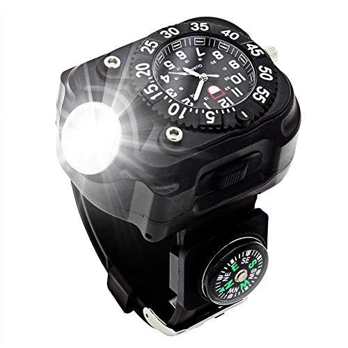 Handgelenk Taschenlampe 3in1 Led-Taschenlampe Im Freien Multifunktions-ipx-6 Wasserdichter Taschenlampe Kompass-licht Wiederaufladbarer Herren-uhr Licht, Am Besten Geeignet Für Nachtlauf