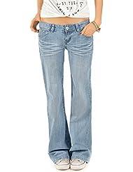 Bestyledberlin jean femme, jean bootcut à taille basse, pantalon flare j72e