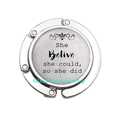 She Believed She Could,so she did Bag Hook, Inspiration Jewelry Inspirational Bag Hook, Empowerment Jewelry, Quote Purse Hook, Q0183