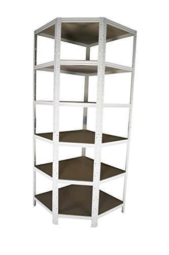 Eckregal Stecksystem in weiß 200 x 60 x 30 cm mit 6 Böden für Schwerlastregale mit 30 cm Tiefe:...