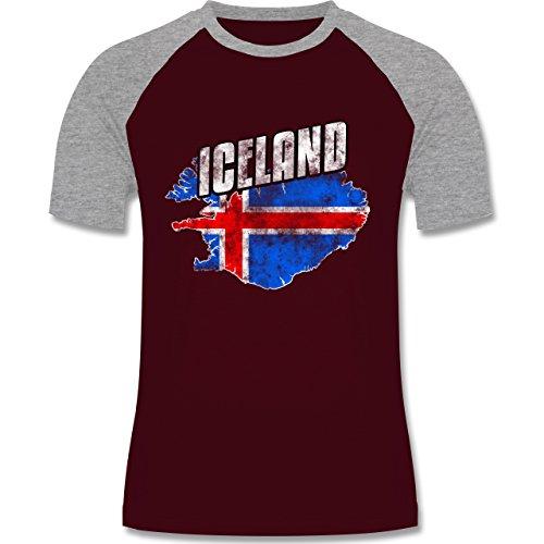 Shirtracer Fußball-WM 2018 - Russland - Iceland Umriss Vintage - Herren Baseball Shirt Burgundrot/Grau meliert