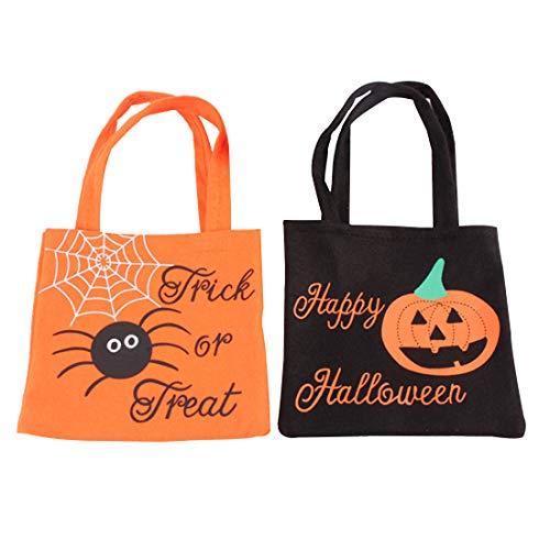 FineInno 2 Pack Halloween Handtasche Süßigkeiten Tasche Candy Tüten Stereo Kürbis Tasche Kinder Beutel Geschenkbeutel Kekstüten Sammeltasche (2 Pack)