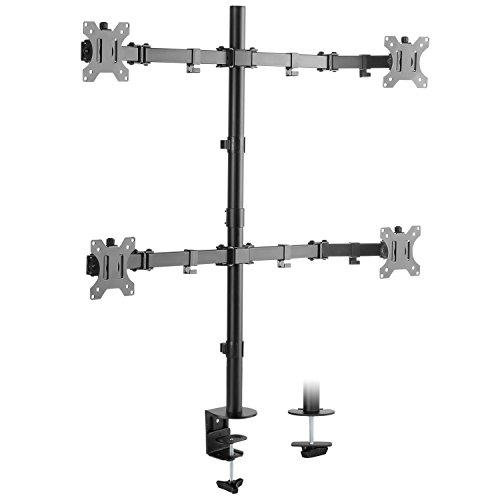 "RICOO Universal Monitor Multimonitor Stand TS2811 Halterung 4 Bildschirme Schwenkbar Neigbar Tischhalterung LCD LED TFT 4K Curved Bildschirmhalterung VESA 75x75 100x100 33-69cm / 13""-27"" Zoll Schwarz"