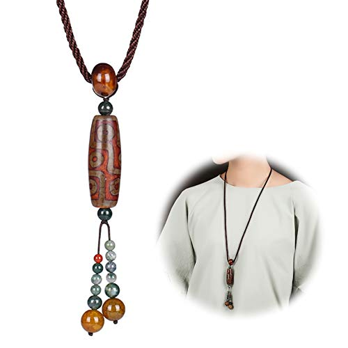 SDKOY Böhmisches Design Pullover Halskette für Frauen, Tibetische Mythologie Anhänger, Elegante Nationalen Stil Quaste Lange Schmuck, Überraschung, Freundin, Frau