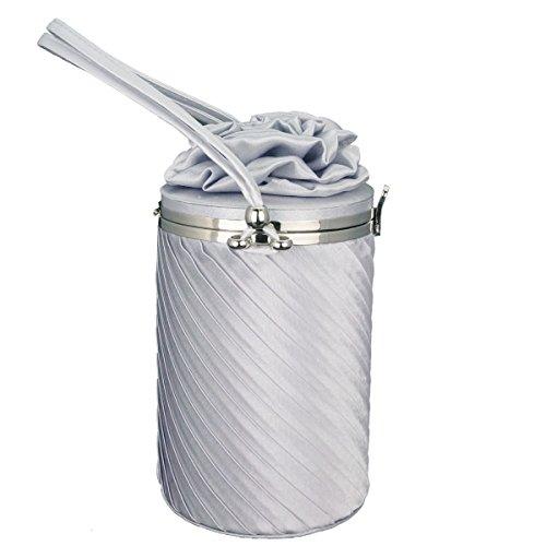 GSHGA Nouveau Tissu Fleurs Sac Seau Embrayage Sac De Soirée Mini Sac à Main Mode élégant,Silver