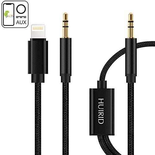 iPhone 7Auto AUX Kabel, huirid Dual 3,5mm auf Lightning iPhone AUX Kabel Adapter für iPhone 7/7Plus, iPhone 8/8Plus, iPhone X zu Auto/Home Stereo und Headset (Stereo-lautsprecher-adapter-schnüre)