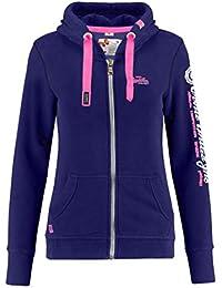 b2e5d90e43fd M.Conte Damen Sweatshirt Kapuzenjacke Hooded Sweater Sweat-Shirt-Jacke S M  L XL Weiss Marine Blau Grau Melange Schwarz Pink…