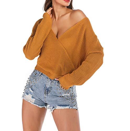 LUGOW Gestrickter Pullover Damen Sexy V-Ausschnitt Langarmshirts Blusen Streifen Langarm Tops T-Shirt Günstig Tee Shirt Online Sale Sweatshirts Einfarbig Lose Bluse(Small,Gelb) -