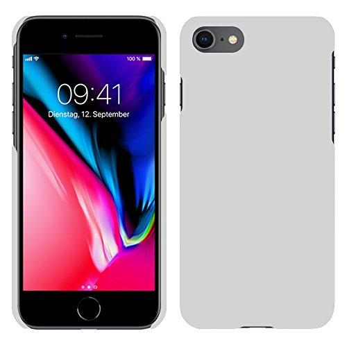 Apple iPhone 8 - Rubber Schutzhülle Gummiert Hybrid Hard Case Schutz Cover Etui Hülle Tasche in Lila - RT-Trading Weiß