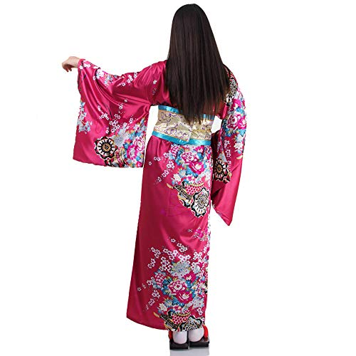Japanischer Geisha Kimono Sakura Weinrot - 3