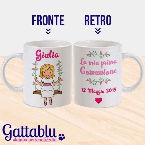 Tazza mug 11 oz la mia prima comunione, personalizzata con nome e data, idea regalo o bomboniera speciale per cerimonia bimba prima comunione