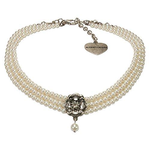 Alpenflüstern Trachten-Perlen-Kropfkette Frederike Trachtenkette, eleganter Damen-Trachtenschmuck, Dirndlkette Creme-weiß DHK213