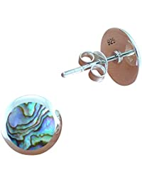 DTPSilver - 925 Sterling Silver and Abalone Paua Shell Round Studs Earrings