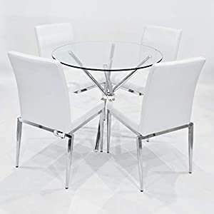 Febland 90cm Round Glass Criss Cross Table with Four Alberta Dining Chairs, Tempered, White, One Size