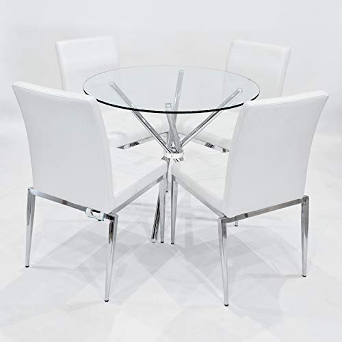 Febland 90cm Round Glass Criss Cross Table with Four Alberta Dining Chairs, Chrome, White, One Size