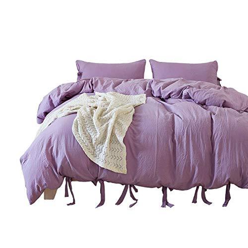 Onlylover Bettwäsche-Set, ägyptische Qualität, steinfarbig, Mikrofaser, 3-teiliges Set, weicher Bettbezug, hypoallergen, solide Bettwäsche, Lavendel, Queen -