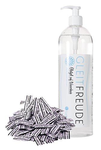 Deluxe XXL Kondom Bundle Sparpaket bestehend aus 100er Beutel London feucht Kondomen & Gleitgel Gleitfreude (1 Liter), Gleitmittel auf Wasserbasis
