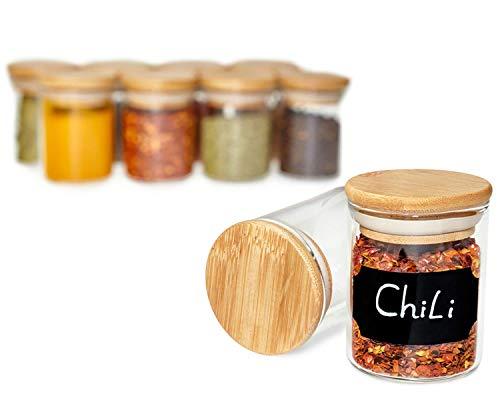 G&K Kitchenware Gewürzgläser Set (10 Stück) Mit 120ml Aus Glas Und Geruchsdichtem Bambusdeckel (Für ALLE Gewürze)