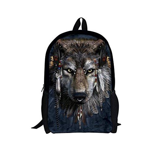 CHAQLIN Mochila escolar multicolor lobo Medium