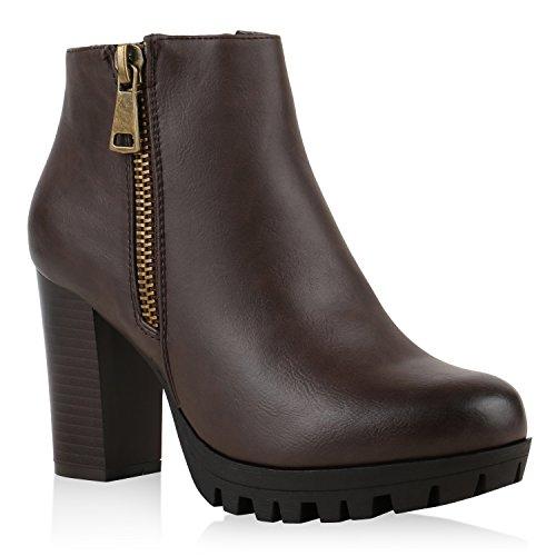 Damen Plateau-Boots Stiefeletten Profil Sohle Block Absatz Dunkelbraun