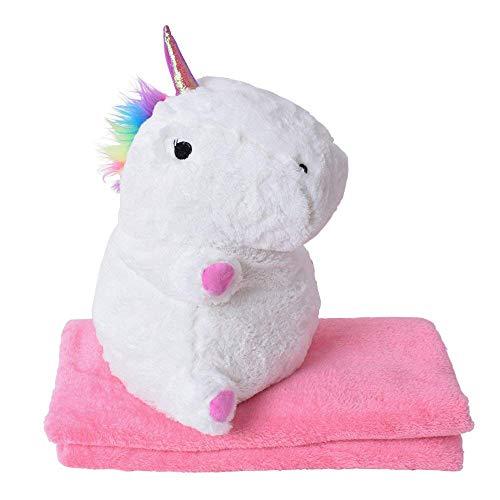 TE-Trend Baby Plüsch Einhornkissen Einhorn Kuscheltier Unicorn 40cm Kissen Kuschel Decke rosa -