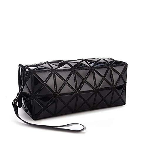 Black Cosmetic Tote Bag für Make-up, Geometrische Foldable Rhombus Falten Gitter Cube Handtasche, Make-up-Tool Aufbewahrungsbeutel Geldbörse Kulturbeutel Organizer -