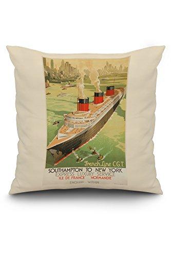 French Line - Normandie - Southampton to New York Vintage Poster c. 1936 (20x20 Spun Polyester Pillow Case, White Border)