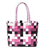 Zapato XXL Big Bag Shopper Tasche Korbtasche Flechtkorb Flechttasche Henkeltasche Strandtasche geflochten knautschfähig robust abwaschbar bunt BERRY & PINK