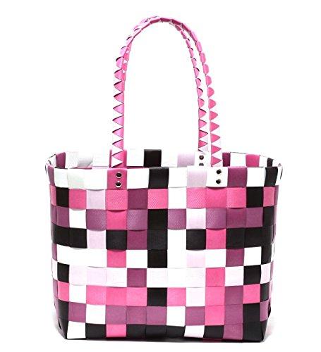 645aa9ea5572b XXL Big Bag Shopper Tasche Korbtasche Flechtkorb Flechttasche Henkeltasche  Strandtasche geflochten knautschfähig robust abwaschbar bunt BERRY & PINK